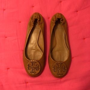 Tory burch brown leather flats 8.5 8 1/2